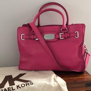 Michael Kors pink leather shoulder bag purse